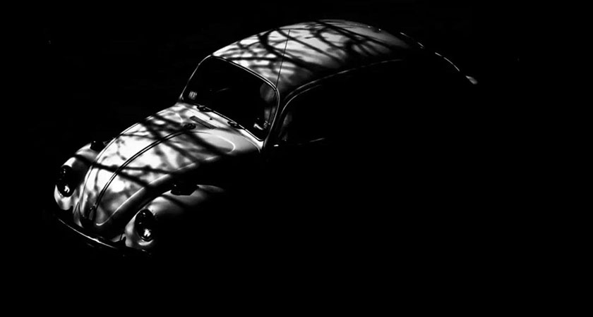 Retro car in shadow