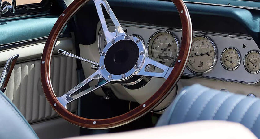 Retro car steering wheel